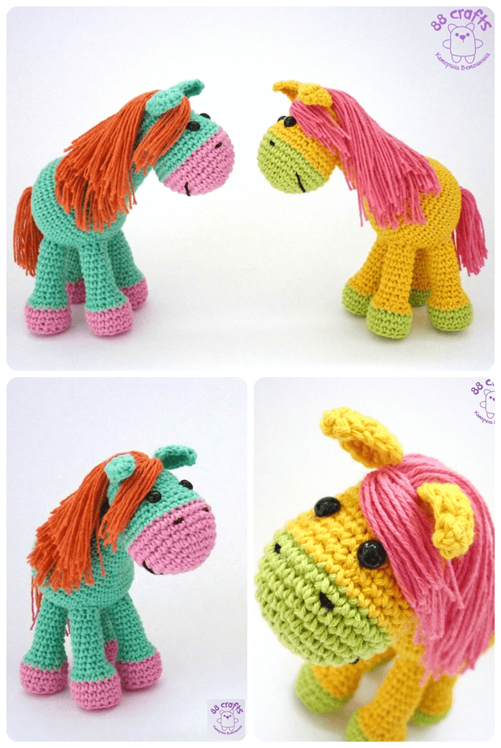 Saka-Knit amigurumi toys: Cute Amigurumi Preparation of Horse Loosh ...