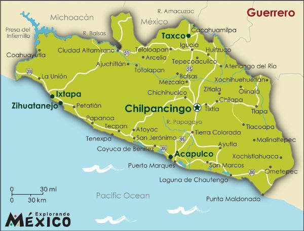 guerrero ohe sierra madre del sur is a mountain range in southern mexico extending 1000