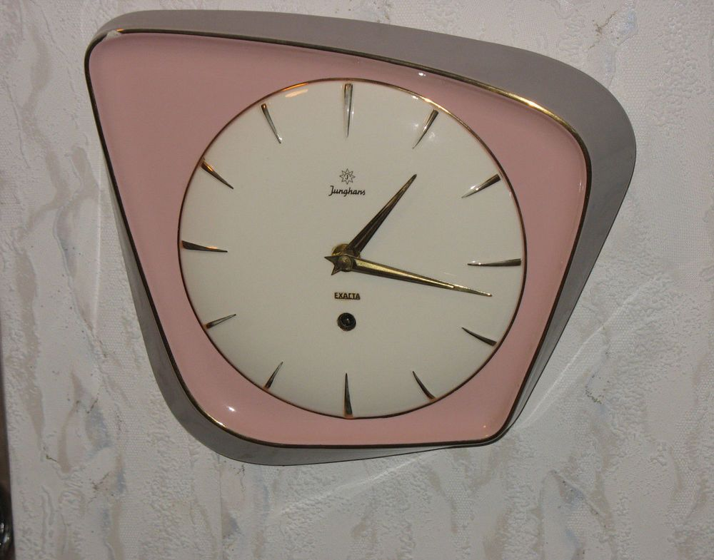 Junghans Exacta Wanduhr 50er Jahre Keramik Vintage Kuchenuhr