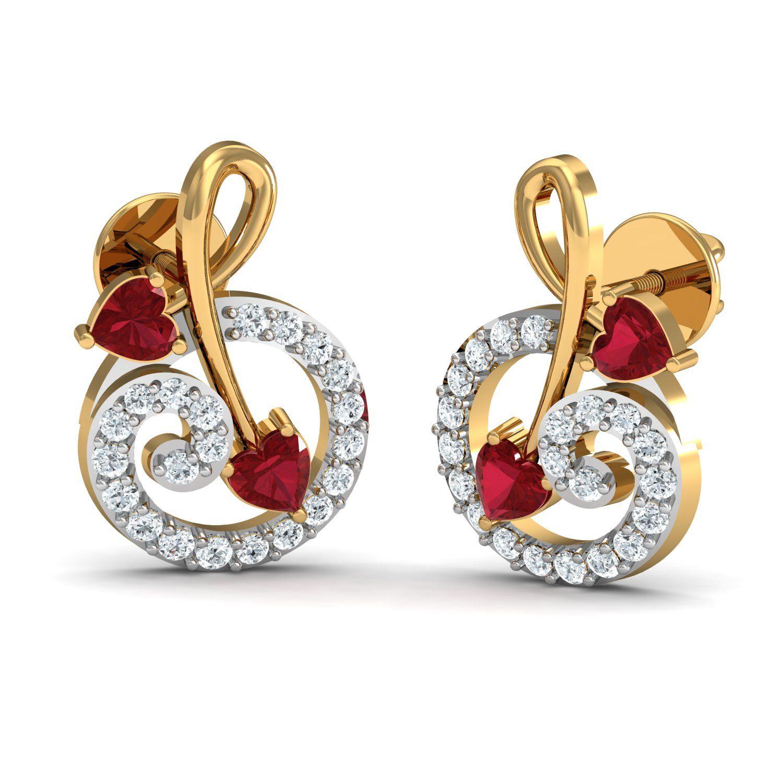 a041f98b8aa Diamond Earrings 0.23 Ct Real Certified Ruby Solid Gold Office Wear ...