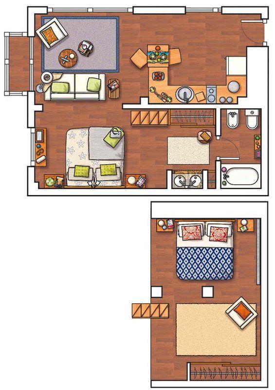 Un piso de 40 m con altillo cases pinterest altillo pisos y casas - Pisos para una persona madrid ...