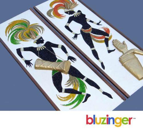 Mid Century Modern 3-D Calypso Dancers MADMEN WALL PLAQUE DECOR Gravel Art c1960