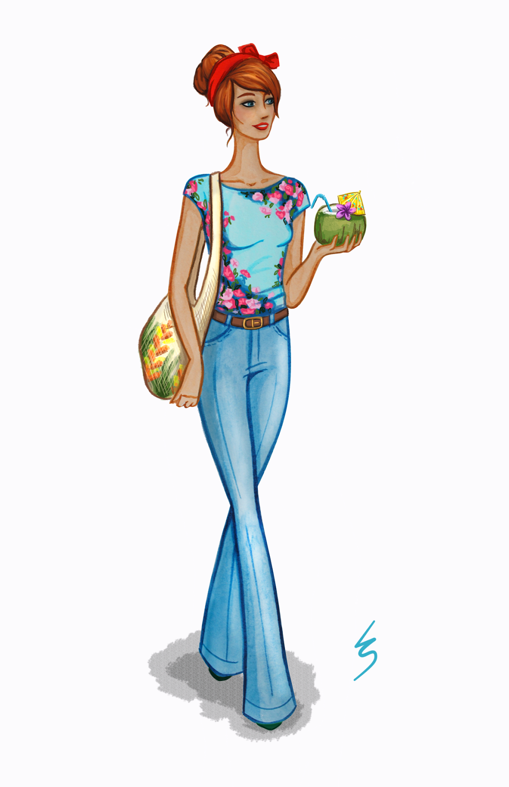 Lydia Snowden Illustration. Fashion Illustration. Flared jeans, floral top, red hair.