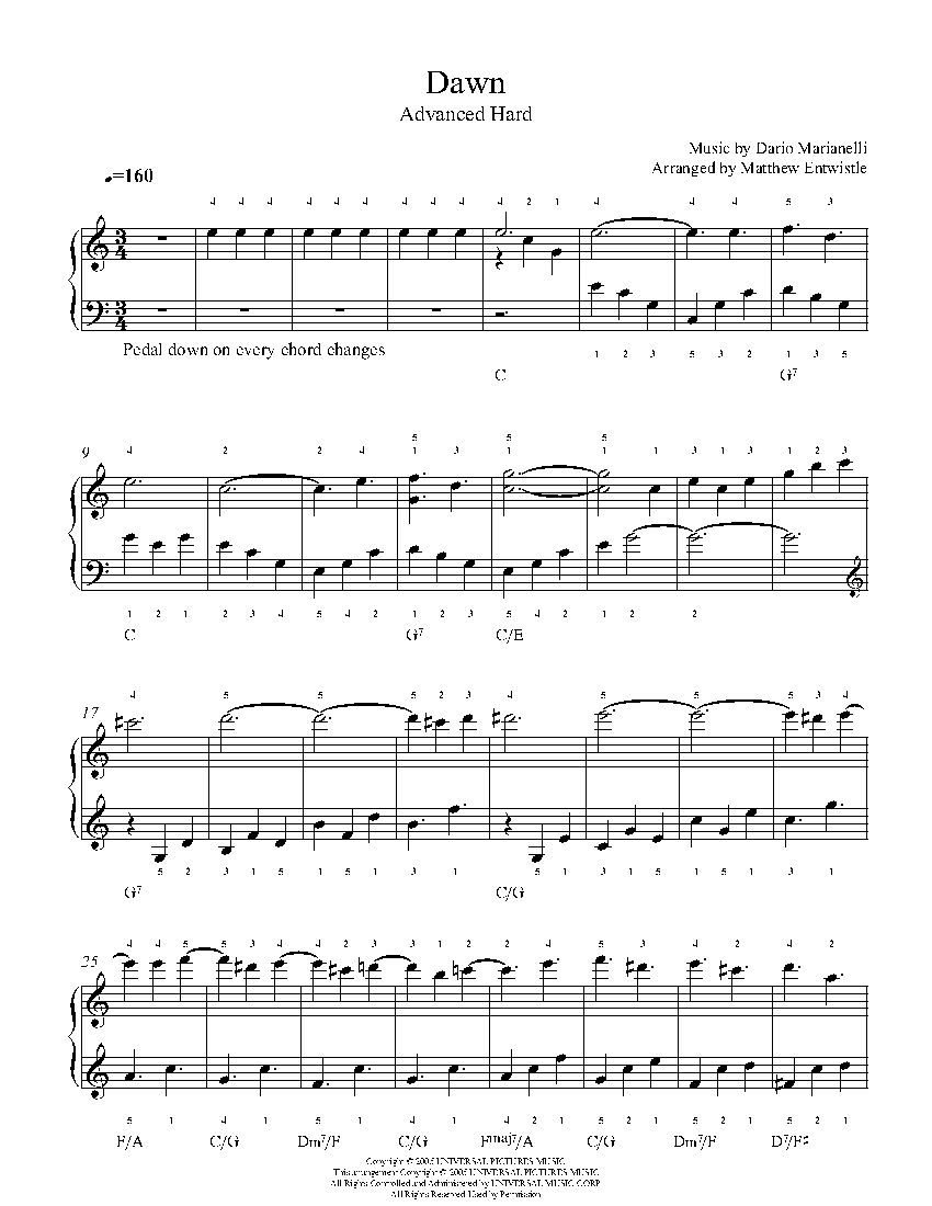 Sugar by maroon 5 piano sheet music advanced level playground dawn by dario marianelli piano sheet music advanced level hexwebz Gallery