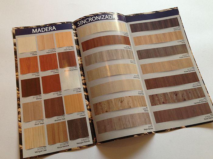Diseño trípticos catálogo productos melaminas sincronizadas interior