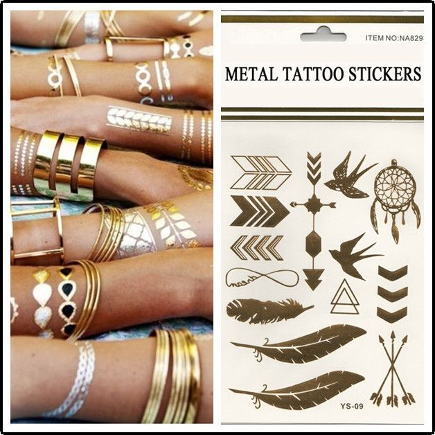 Ornamental Dress Fashion Tattoo Metal Tattoo Stickers To Wear As Jewelry Or With Jewelry Tattoo Sticker Gold Metal Tattoo Jewelry Tattoo