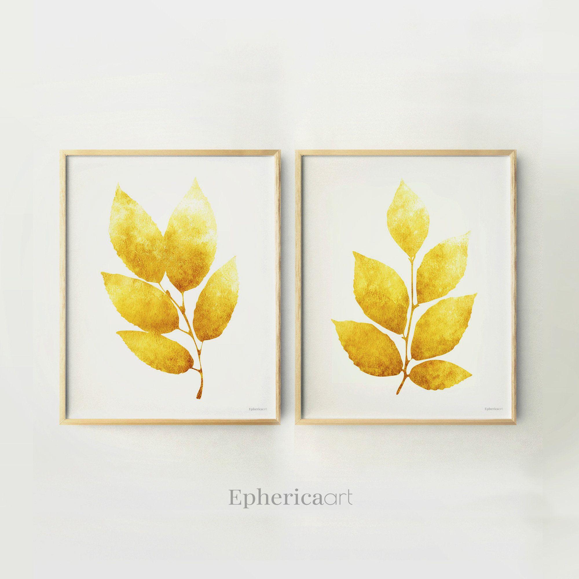 Mustard Yellow Home wall art, Leaves decor Botanical Printable ...