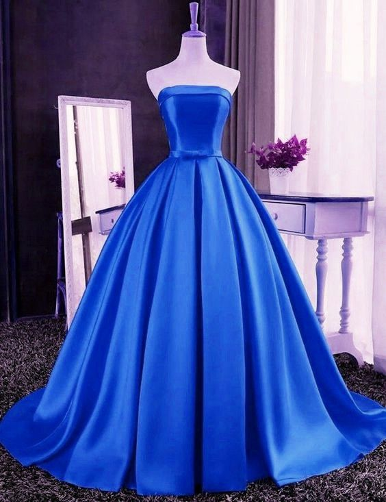 Royal Blue Satin Long Prom Dress, Prom Gowns, Junior Formal Gowns ...