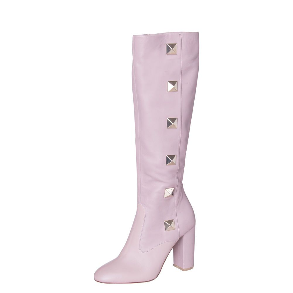 753600d0708 VALENTINO GARAVANI Leather Knee High Boots Size 37 UK 4 Made in ...