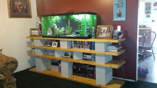 Cinder Blocks Wood Stained And 75 Gal Fish Tank Love This