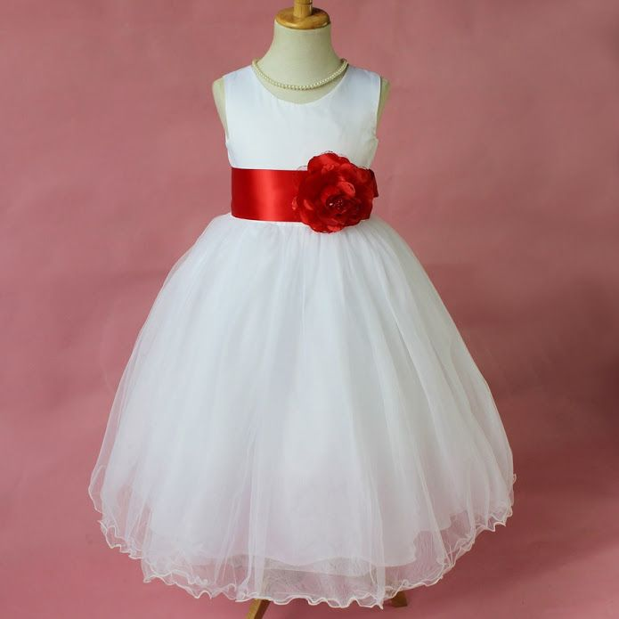 e8c7b5e3374 White Flower Girl Dress with Red Accent for Easter Wedding Communion Party