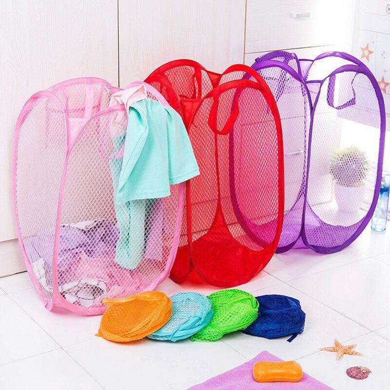1x Children Toy Mesh Storage Bag Folding Basket Clothes Laundry
