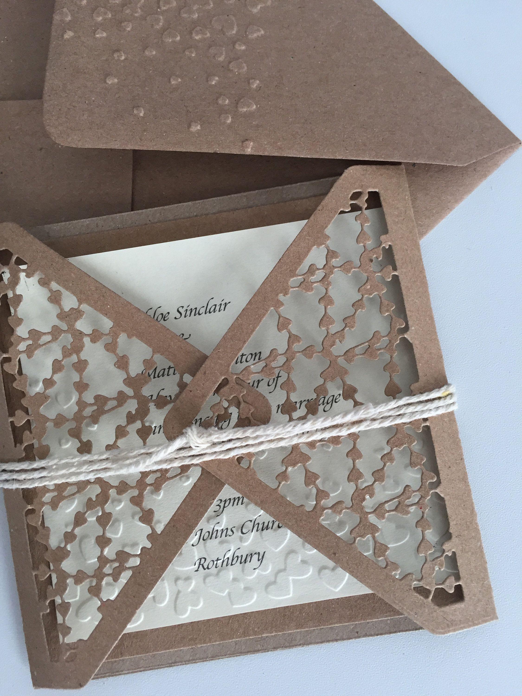 Rustic Entwined Heart Gate Fold Wedding Invitation Creativity
