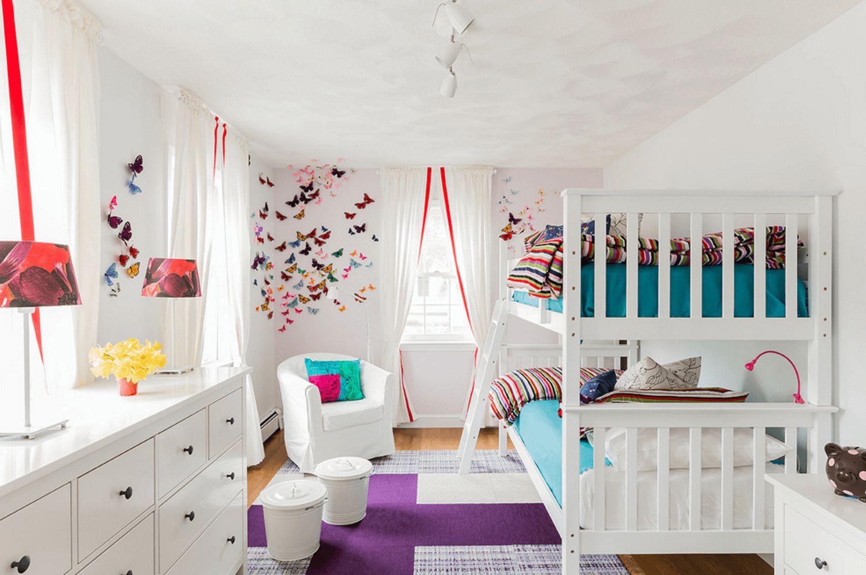 Best Bedroom White Wooden Metal Bunk Bed Striped Pattern 400 x 300