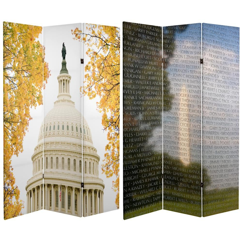 6 ft  Printed 3-Panel Room Divider-CAN-MEMORIAL2 - The Home