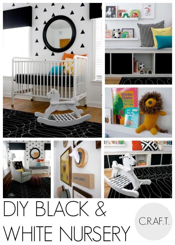 DIY black and white nursery White nursery Nursery and Neutral