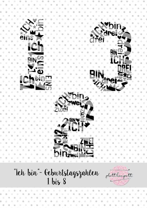 """Plottervorlage """"Ich bin"""" – Geburtstagszahlen"""