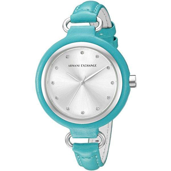 Armani Exchange Madeline Analog Display Analog Quartz Green Watch (3,475 THB) ❤ liked on Polyvore featuring jewelry, watches, green watches, analog wrist watch, green dial watches, quartz watches and dial watches