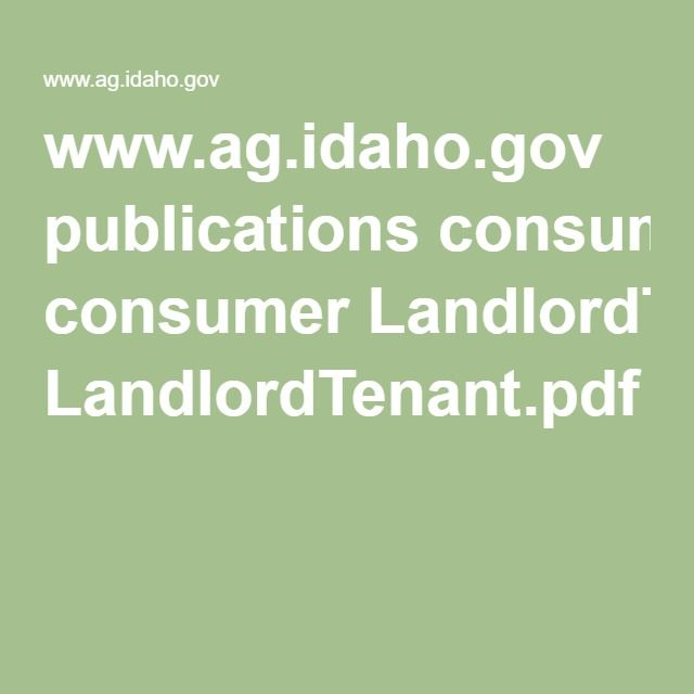 wwwagidahogov publications consumer LandlordTenantpdf Rental
