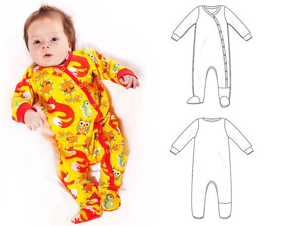 Baby footed one piece pattern // pdf download // photo tutorial ...