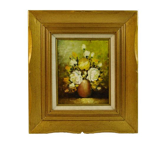 Original Oil Painting On Canvas Vintage Floral Still Life White