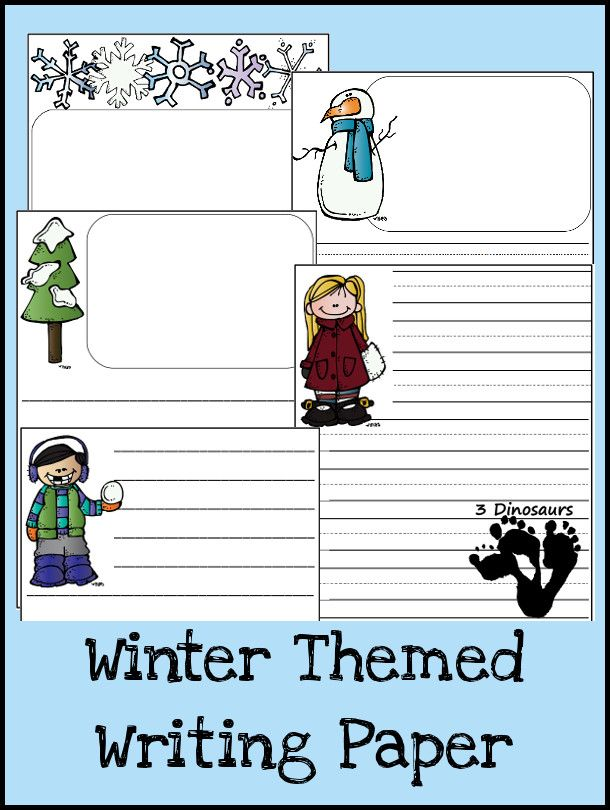 Free Winter Themed Writing Paper - 5 different images snowman, boy - blank lined page