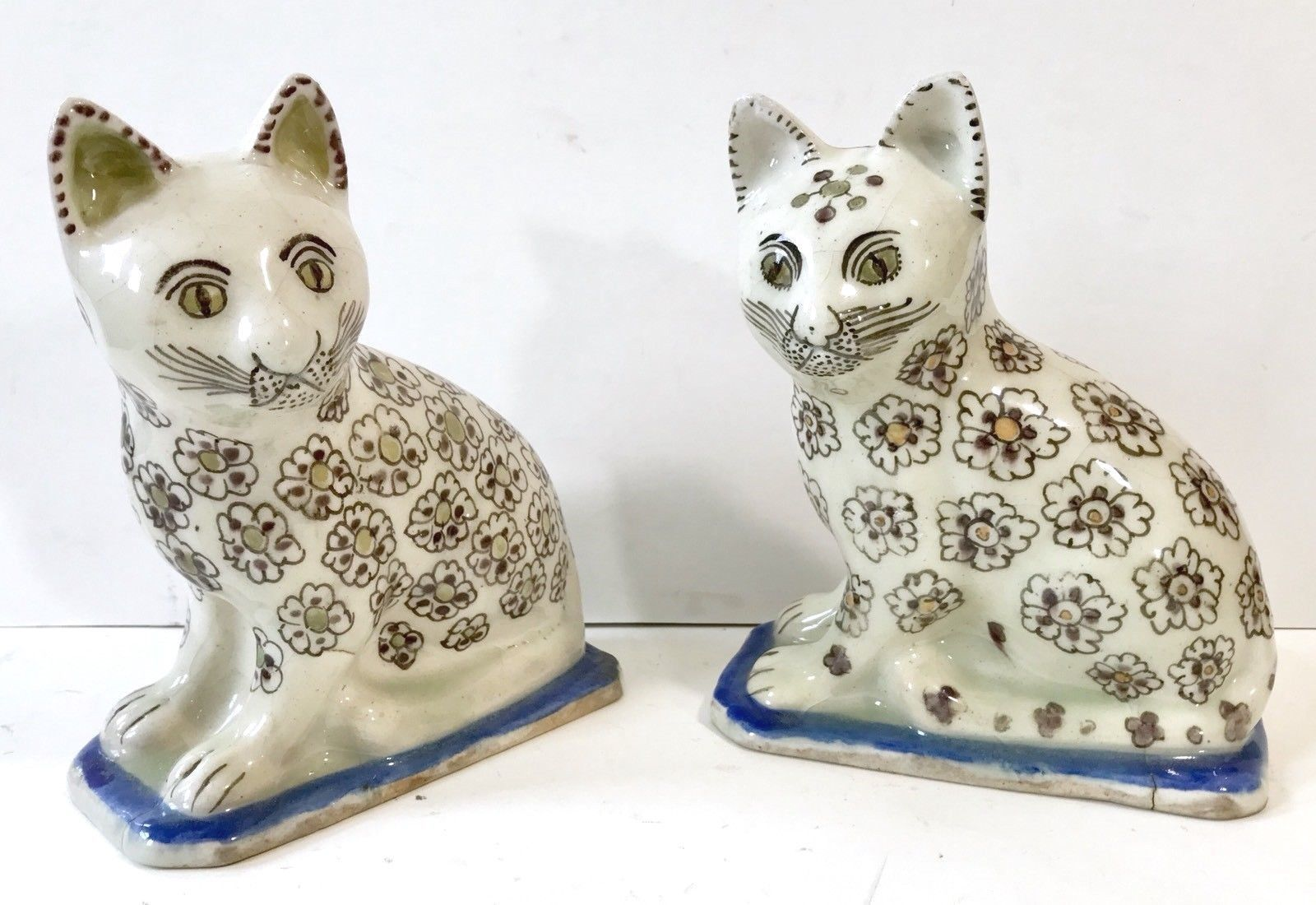 Pair Of Antique Persian Qajar Faience Kittens Cats Cats And Kittens Kittens Piggy