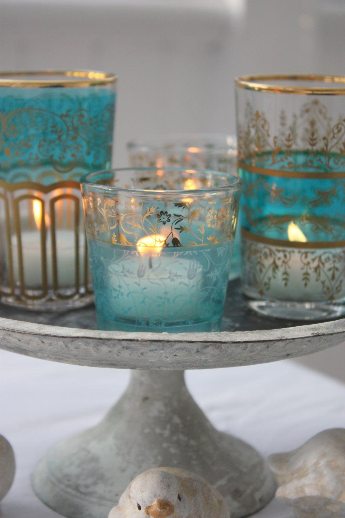 Moroccan tea glasses but pretty candle holders aqua pinterest