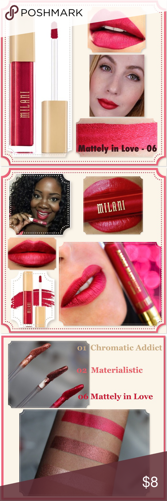 "🆕 MILANI Amore Metallic Matte Lip Mattely in love Paint your pout w/gilded glamour in ""Mattely in Love 06"" a limited edition shade of metallic matte liquid lip crème.  Bold & richly pigmented this metallic liquid lip color shines w/a soft luster & dries to a smooth matte finish, w/o drying out your lips!  Waterproof & kiss-approved, Amore Mattallics Lip Crème delivers up to 16hrs of wear.  Remove w/oil-based longwear lip color remover.  A stunning red w/hints of pink & gold undertones, that loo"