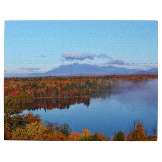 Mt.Katahdin Autumn Scenery Photo Puzzle by KJacksonPhotography --  Taken 10.12.2014 Mt. Katahdin, the beautiful blue skies and some clouds contrast wonderfully with surrounding colorful canopy of autumn leaves of the forest - brilliant dazzling reds, oranges and golds. Salmon Stream Lake beautifully reflects the kaleidoscope of colors of this fall's vivid hues. From the I95 scenic turnout, mile marker 252.PC:243.284 #nature #photography #autumn #mtkatahdin #puzzle #puzzles