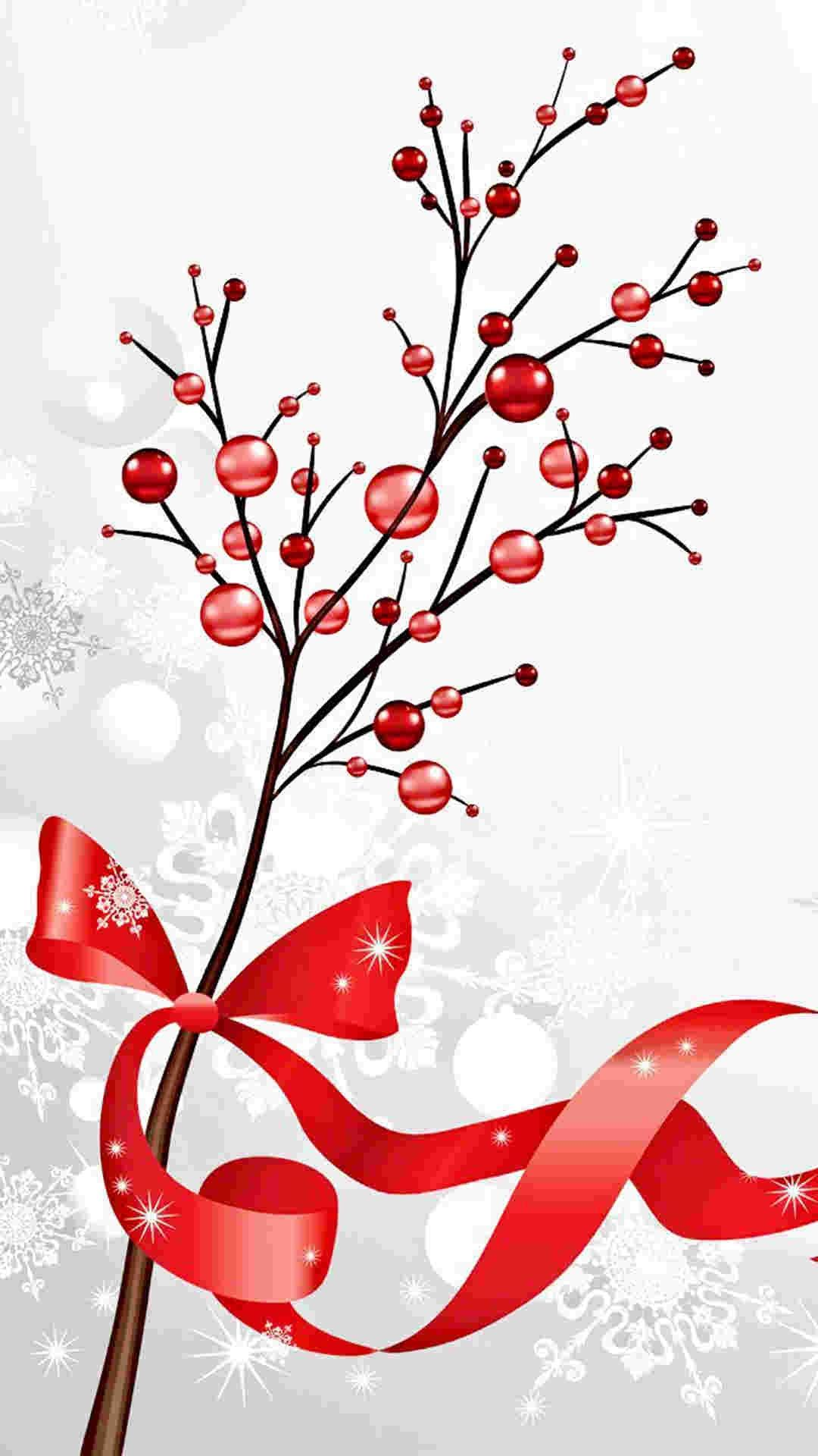 red berry Christmas tree iPhone 6 plus wallpaper ideas - ribbon ...