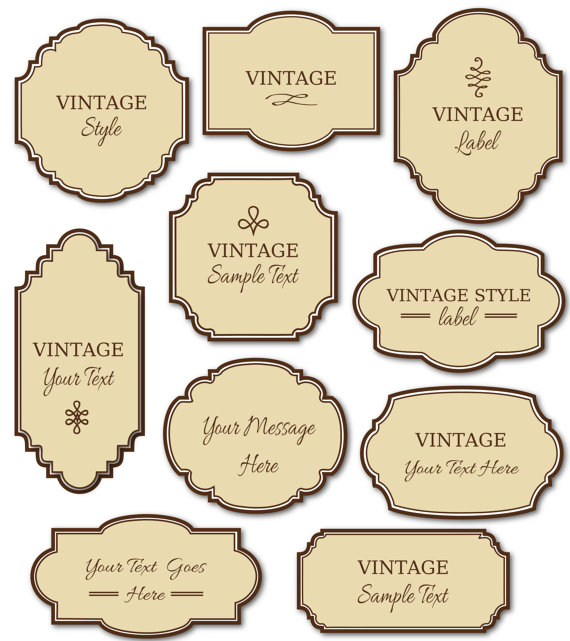 SALE! Buy 3 get 1 FREE! Vintage Labels Clip Art Pack    Digital - labels template free