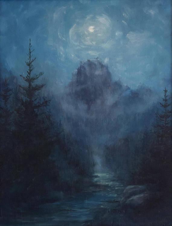 Photo Painting Digital Dark Forest Lights Gift 12X16 Inch Framed Art Print