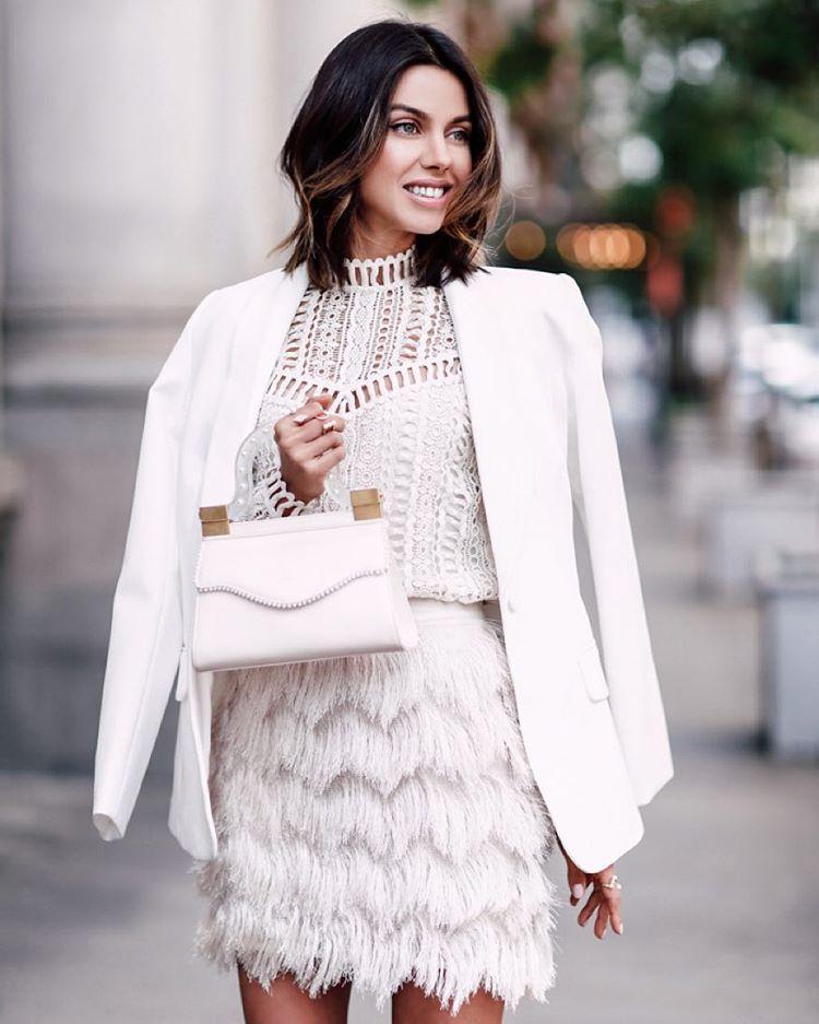Beautiful in white. @vivaluxury carrying the Thalé Blanc Tiffany Micro Pearl handbag. #ThaleBlanc #FW15 #Handbag