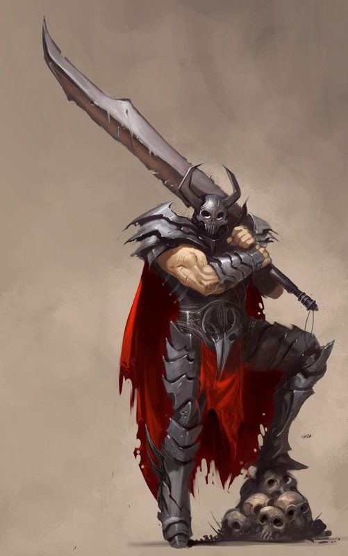 Male dark barbarian with giant sword