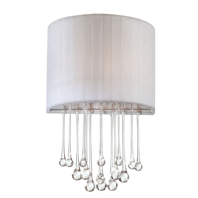 Eurofase Lighting 16036 Penchant 1 Light Wall Sconce with Hanging Crystal Accent Chrome / White Indoor Lighting Wall Sconces Wall Washers