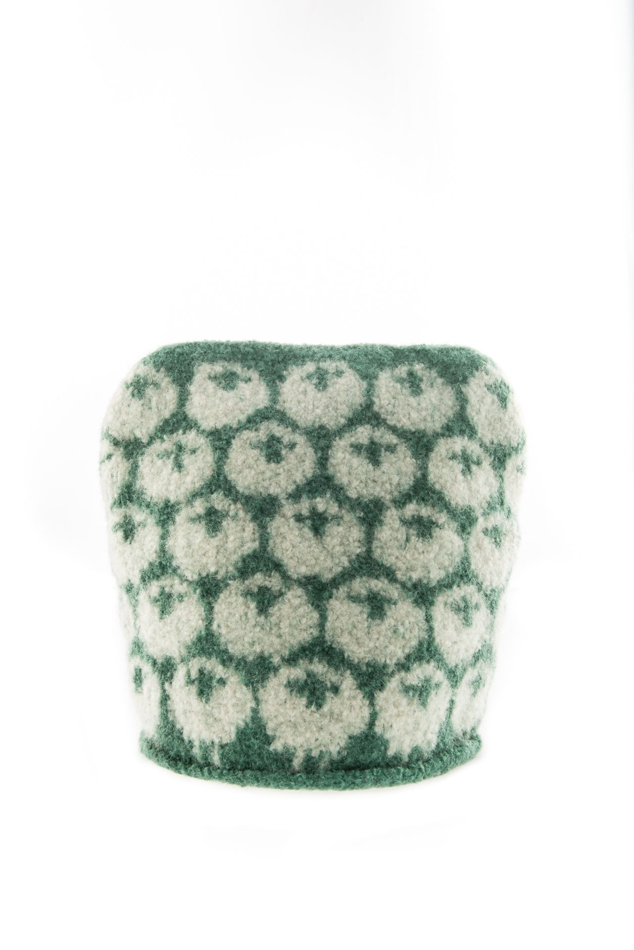 Felted sheep tea cosy in cream and green