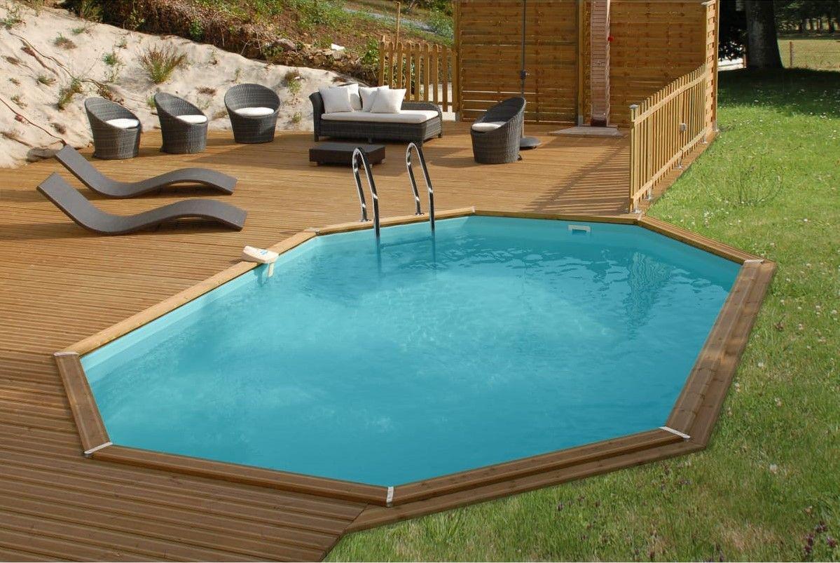 piscine bois ovale promo
