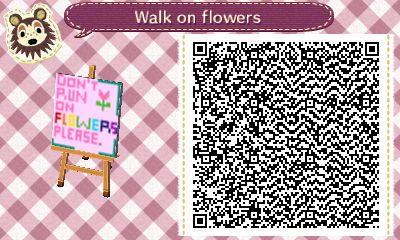 Don T Run On Flowers Sign Acnl Qr Code Acnl Animal
