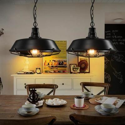 Suspension rétro vintage lustre plafonnier lampe luminaire industriel noir