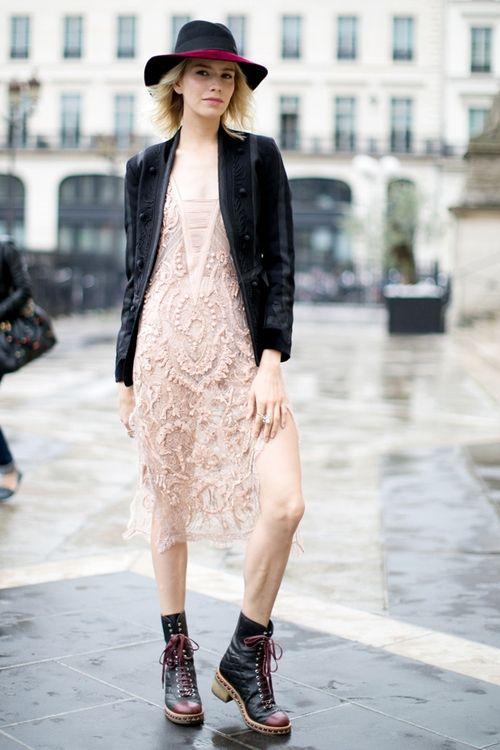 Elena Perminova in Chanel combat boots at Fall 2014 fashion week.