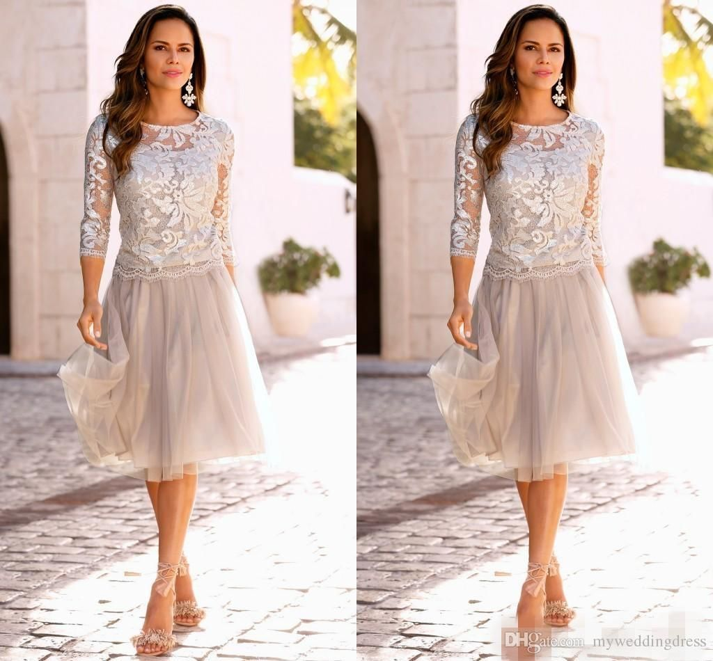2016 Vintage Short Mother Of The Bride Dresses Women Evening Party Gown Long Sleeve Champagne Lace Tea Length Groom Wedding Guest Dress Summer Mother Of The Bri Elegant Wedding Guest Dress