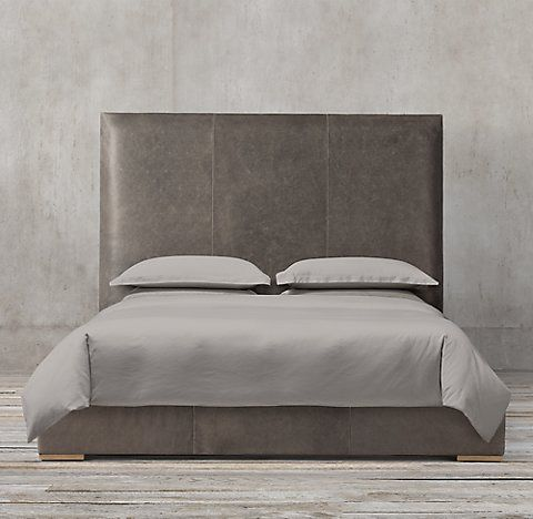 Lawson Panel Non-tufted Leather Bed Collection | RH | THESIS ...