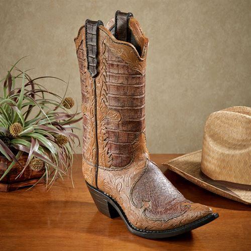 Cowboy Boot Sculpture Dark Brown