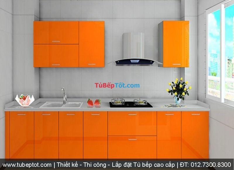 Nóng bỏng cùng tủ bếp Laminate màu cam đầy mê hoặc