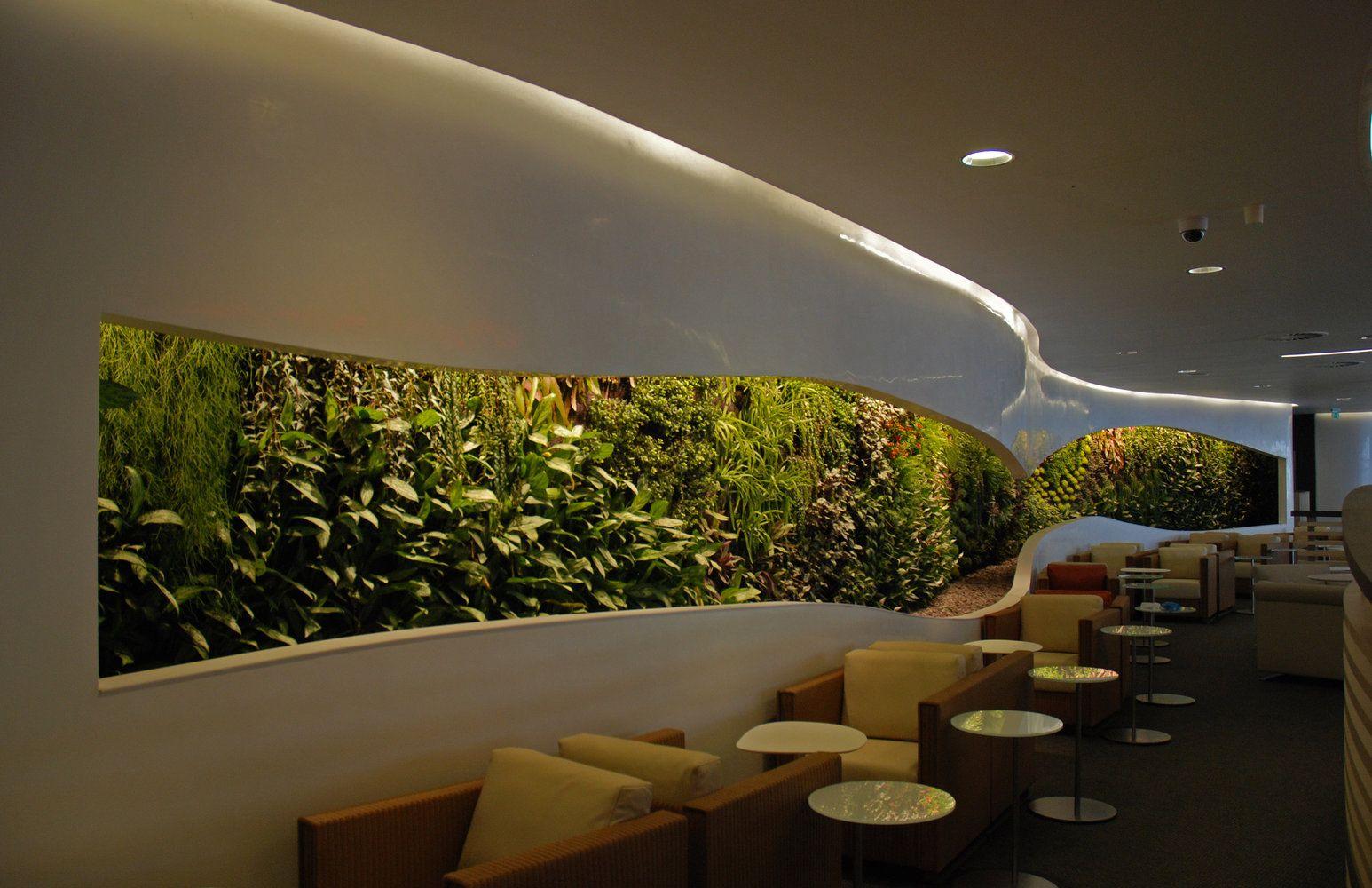 Bureau led colors blanc sky team lounge heathrow vertical garden