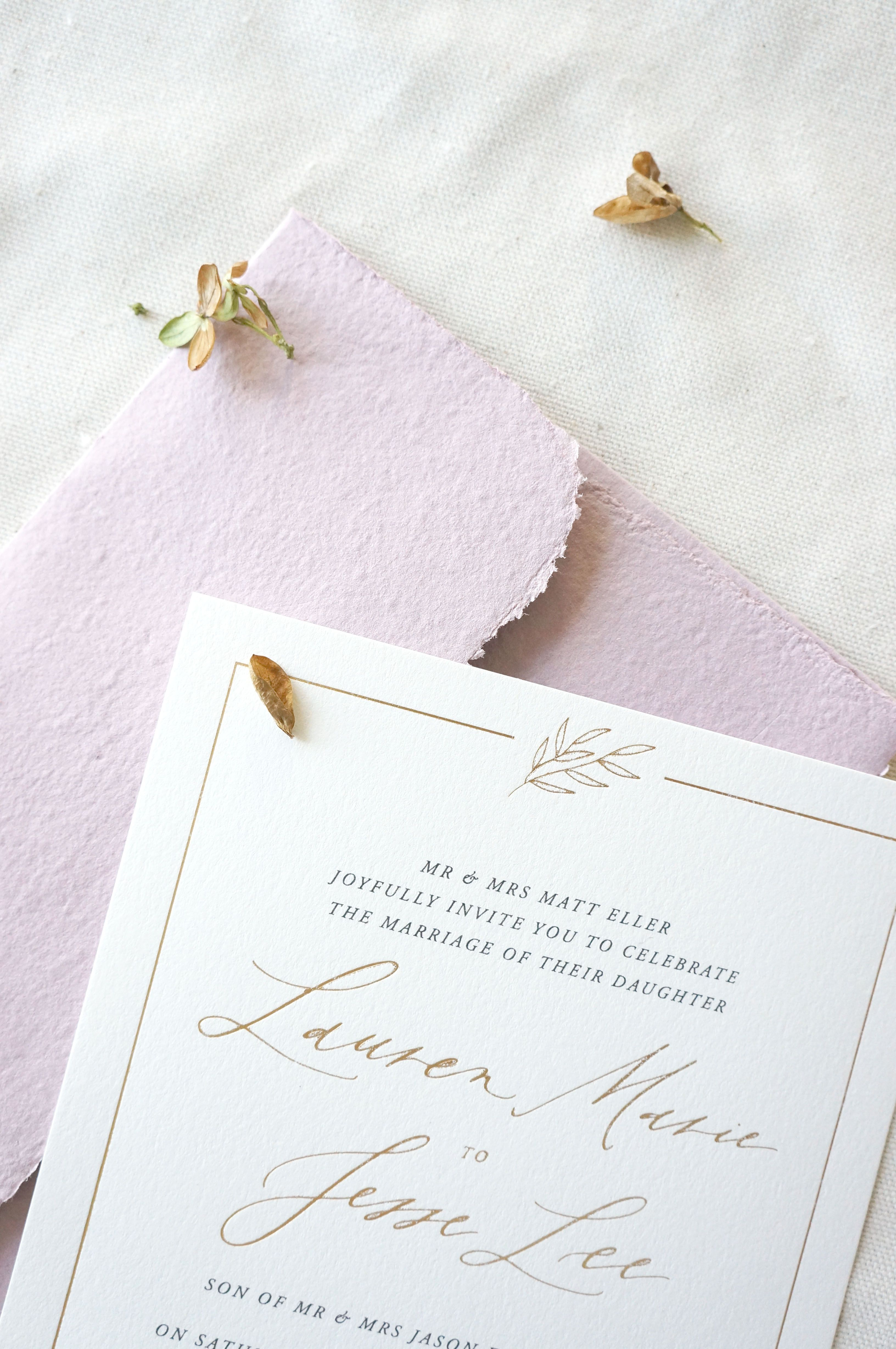 Fall wedding invitation featuring gold foil, classic fonts, and ...