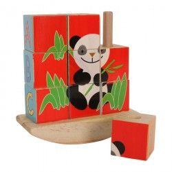 Würfelpuzzle-Spiel  Panda  mit 9 Puzzleteilen, inklusive Holzschaukel zum Aufstecken