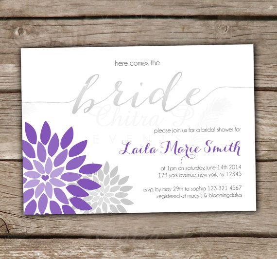 purple silver bridal shower invitations with luxe white envelopes and silver liner available printed silver wedding floral bride modern