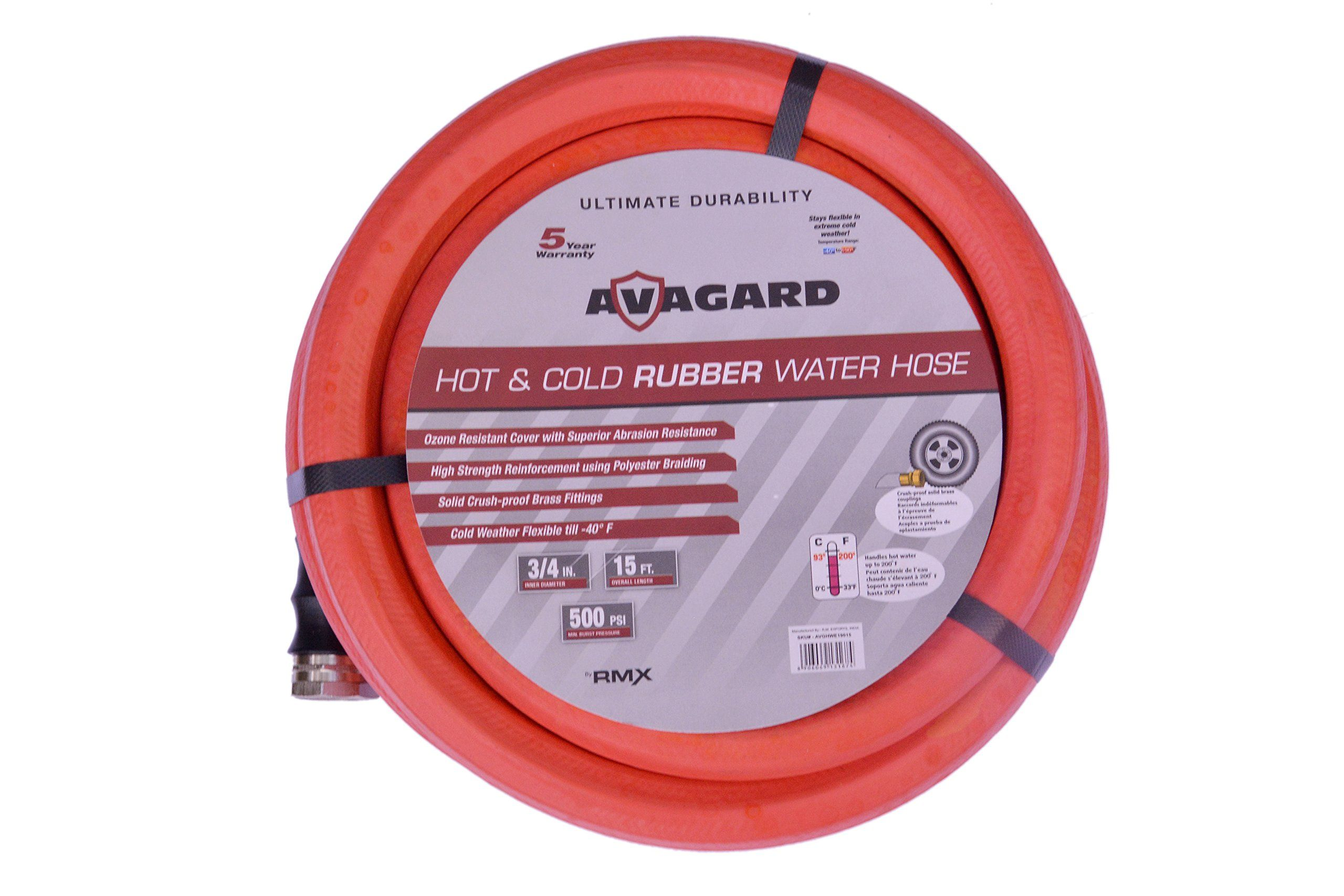 "Avagard 3/4"" X 15 Foot Red Rubber Water & Garden Hose"